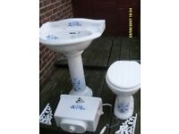 COTTAGE STYLE WHITE VITREOUS TOILET AND HAND BASIN WITH BLUE FLORAL DESIGNS