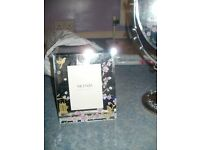 set of 3 mirrored mirror ,pictureframe and neclace holder