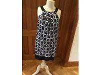 Hobbs, black and purpled pattern linen dress, size 12