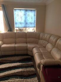 Cream leather corner sofa