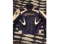 Large RICHA men's leather motorcycle jacket (size: 42)