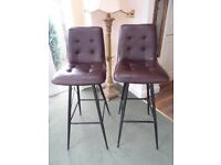 Barker and Stonehouse Linnet Brown Faux Leather Bar Stools x 2