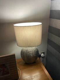 Silver lamp base with shade