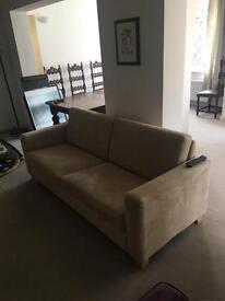 Sofa. Cream / grey colour, light wooden feet