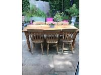 Antique 6ft farmhouse dining table and 6 chairs
