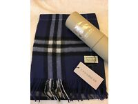 burberry scarf navy blue