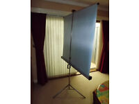 Pull up Projection Screen on tripod legs