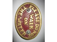 Boat Plaque, Brass, Funny Sign for Boat, 'Please Do Not walk on the Water' 92 mm x 64 mm.