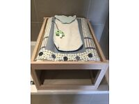 Handmade over the bath changing table with changing mat