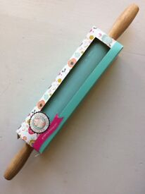 Ceramic Rolling Pin with Wooden Handles