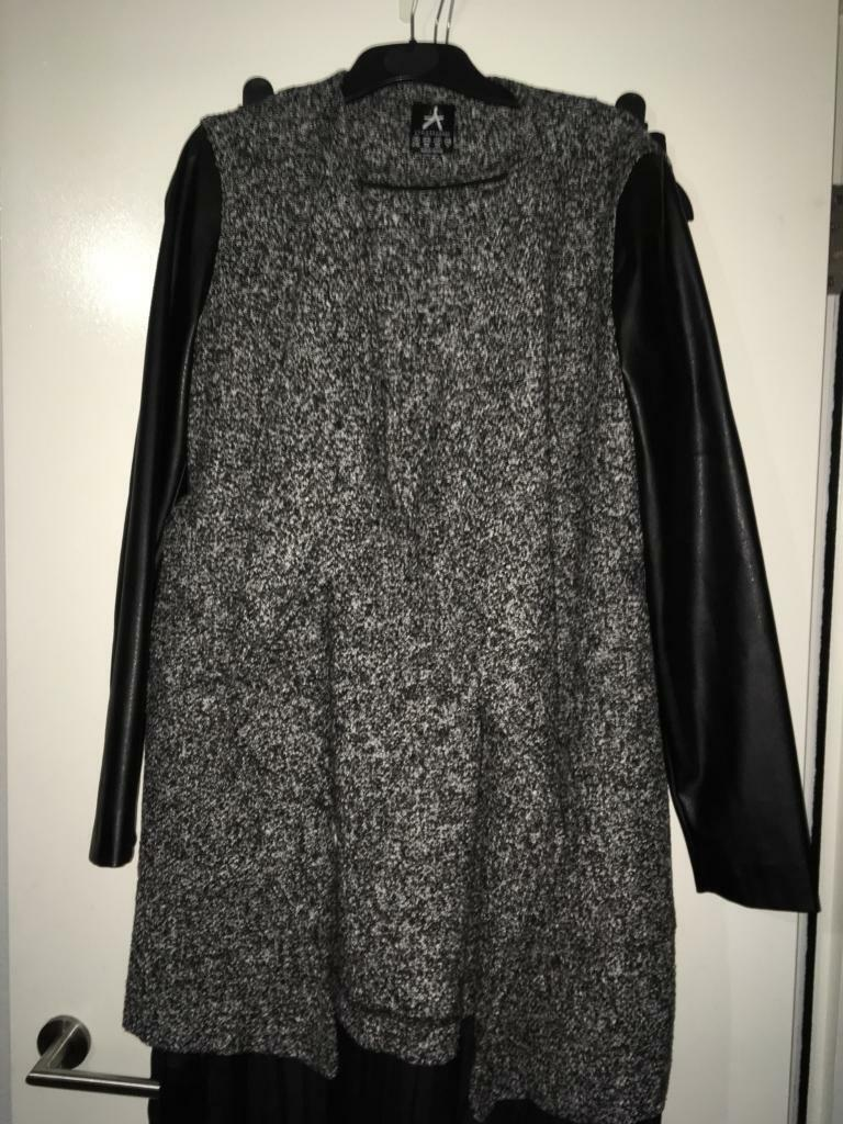 Leather look black and grey waterfall jacket