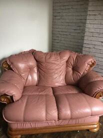 Sofa Two Seater Pink Leather & Wood