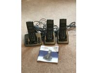 BT cordless phones with Answer Phone x3 handsets