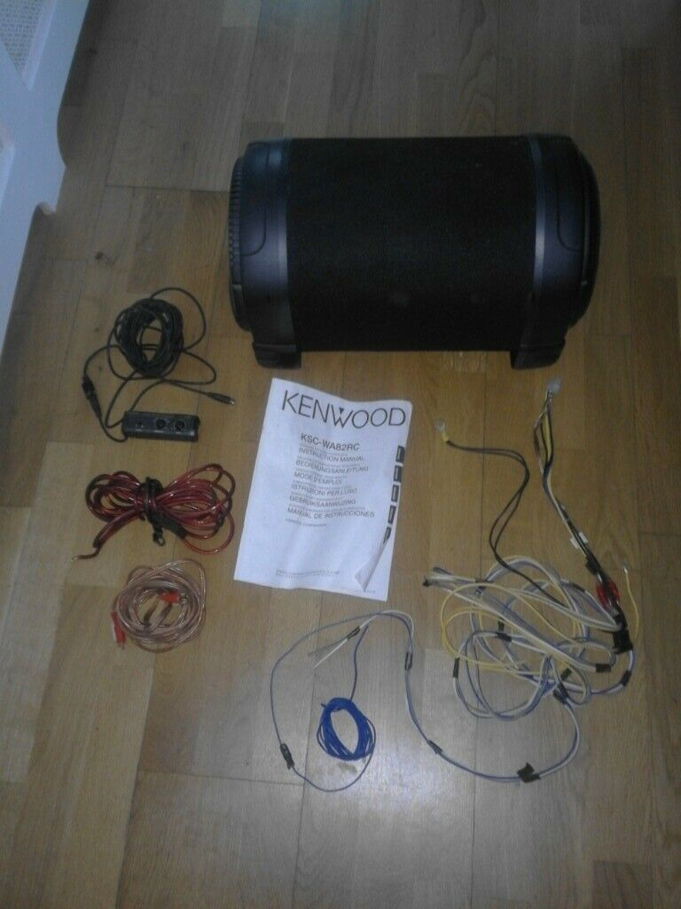 Car speaker Kenwood active 100watt sub with wiring and manual book on