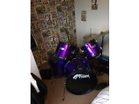 Tiger purple drum kit
