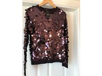 NEXT mulberry sequinned jumper NEW size 6/8 💕