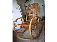Vintage bamboo wicker rocking chair