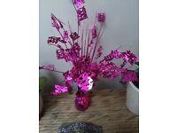 10 x cerise pink HAppy Birthday table decorations