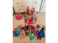 Barbie dolls, car, bicycle, pets and assorted dolls