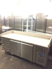 Tefcold REFRIGERATED PIZZA PREPARATION commercial TABLE, WITH GRANITE WORKTOP