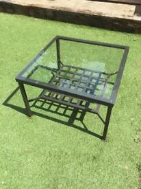 Glass and metalwork coffee table