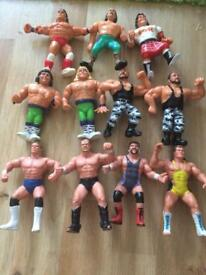 Collection of 11 WWF Hasbro WCW Galoob Wrestling Figures