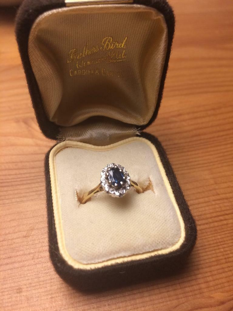 18 carat gold, diamond and sapphire engagement ring in the ...