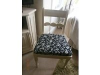 Cream vintage chair with black/cream floral fabric, for desk or dressing table