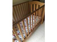 Light Pine Cot Bed - new sprung mattress