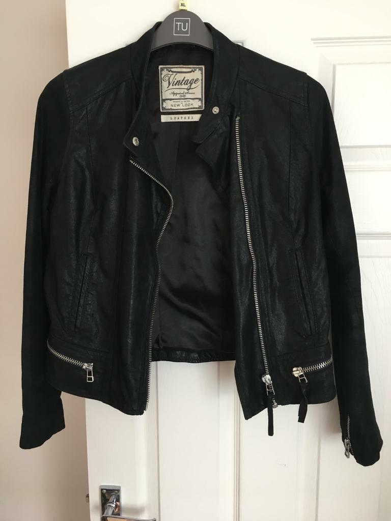 Black Vintage Leather Jacket New Look 14 In Durham County