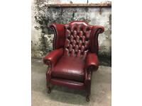 Genuine Leather, Vintage Chesterfield, Wingback Armchair