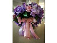 ARTIFICIAL BRIDAL BOUQUET WEDDING FLOWERS FLORAL ARRANGEMENT PASTELS PINK LILAC HYDRANGEA LILLY