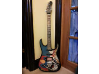 Encore electric guitar with comic strip paintwork