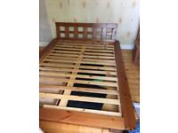 Scandinavian pine double bed with under bed drawer 2 bedside tables and 7 drawer chest of drawers.