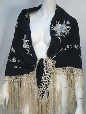 Vintage Black Ivory White Silk Embroidered Floral Fringed Piano Shawl *