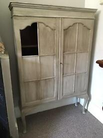 Free painted antique glass cabinet