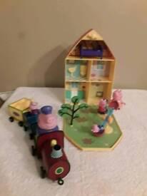 Pepper pig house bundle including train like new