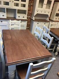 1.4m farmhouse extending dining table with turned leg