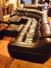 real leather -low corner suite and footstool