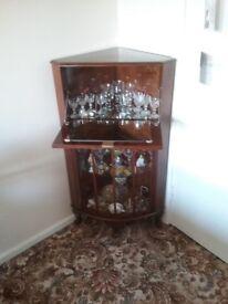 Corner Cocktail Cabinet Walnut