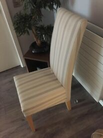 6 x Striped Beige Cream Oak Legs Dining Chairs RRP 700
