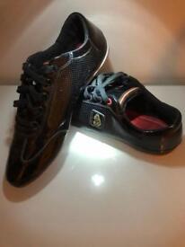 LUKE gloss black trainers size 10