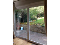 White UPvC sliding doors 2.5m x 2m (approx)