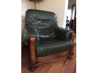 Green leather and polished wood Armchair - two available