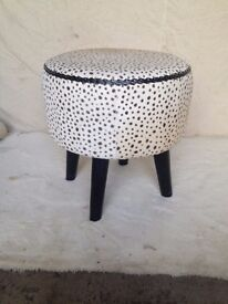 GENUINE ROUND COW HIDE STOOL, HEIGHT 640MM, WIDTH 440MM NEW