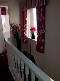 Pair Of Red Landing Curtains