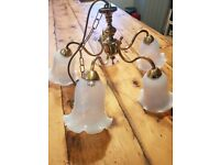 Antique Chandelier Ceiling Light with 5 glass shades