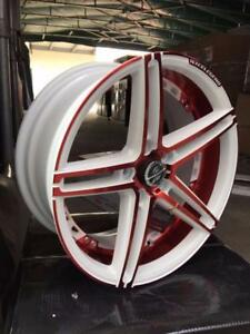 NEW!! 18 inch PEARL WHITE AND METALLIC RED WHEELS and TIRES!! ---- CUSTOM COLOR!!  - 173