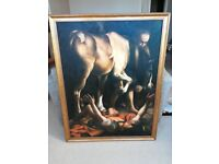 Large Oil Painting on Canvas, in Decorative Gold Frame