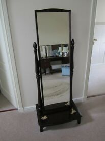 STAG MINSTREL FREE STANDING CHEVAL MIRROR ON MAHOGANY BASE.